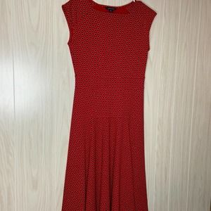 Lands End Midi Dress Red Ponte Knit XS 2-4